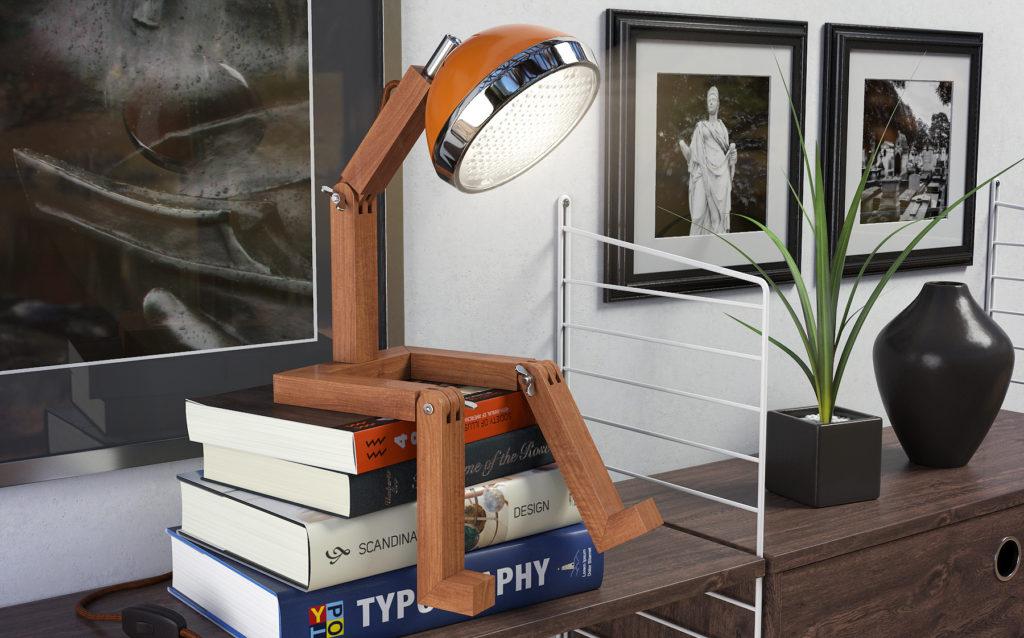 Lampada Mr Wattson: una lampada simpatica e versatile, un piccolo omino dal gusto vintage che può assumere diverse posizioni e portare luce e allegria.