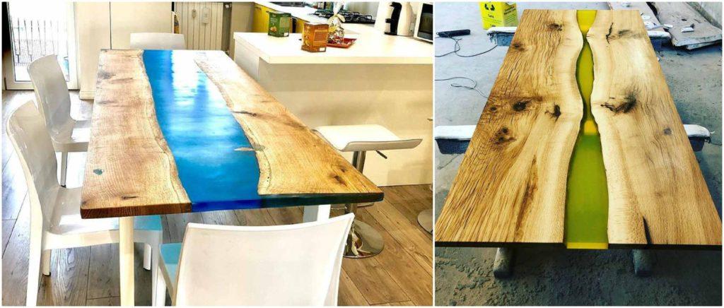 River table: un tipo di tavolo molto particolare e in voga negli Stati Uniti, realizzato con legno naturale e l'utilizzo di vetro o resina colorata.