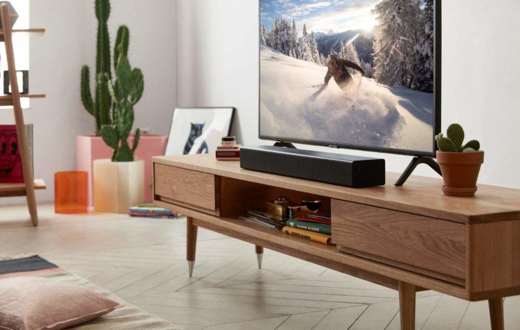 Soundbar usato a casa per avere una qualità del suono migliore.