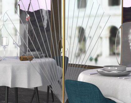 Divisori di design per la riapertura di locali e uffici