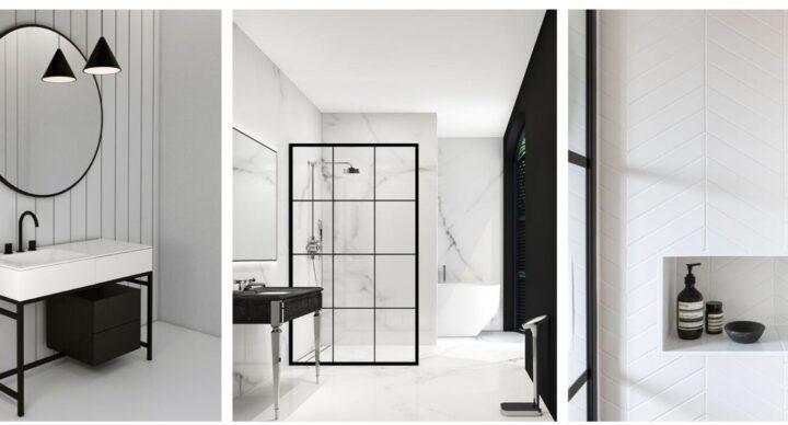 Un bagno in bianco e nero